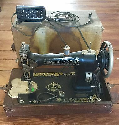 Antique White Rotary Sewing Machine Carry Case Vintage Electric Delco Motor
