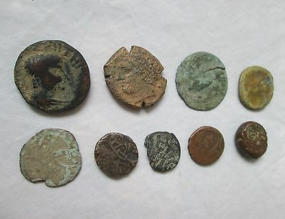 Lot of NINE 9 ANCIENT ROMAN bronze coins 1 has LION on back  UNRESEARCHED Look!