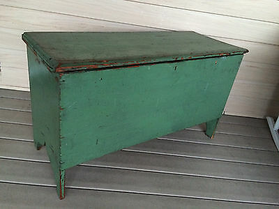 Vintage 19th Centu Southern Painted 6 Board Blanket Chest Boot Jack Ends