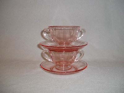 Fostoria Fairfax Pink Rose Footed Bouillon Cups and Saucers Set of 2
