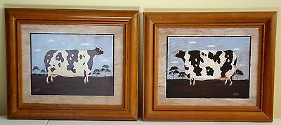 COW ART 2 pc. Set Wood/Glass Framed Prints Excellent Condition COUNTRY FARM COW