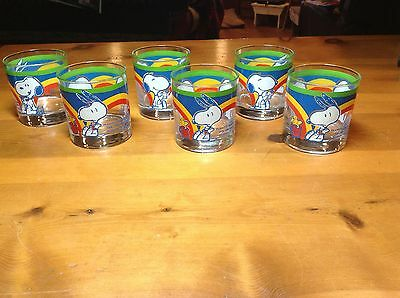 Vintage Schultz Snoopy Woodstock Set of 6 Rainbow Glasses Excellent Condition