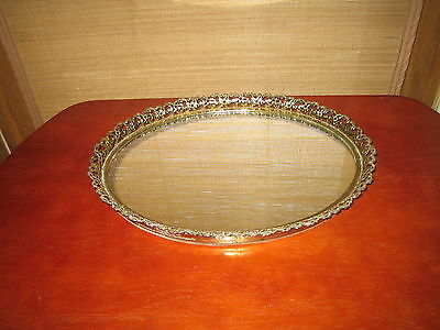 VTG Mirrored Vanity Tray with Gold Tone Trim
