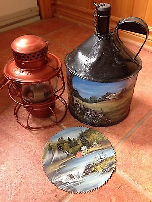 Vintage CPR Railway Lantern w/Wood Handle Hiram L. Piper Co.