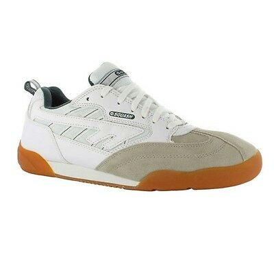 Mens Hi Tec Squash Classic White Green Textile Leather Lace Up Trainers