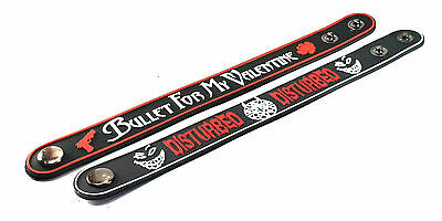 2X Bullet for My Valentine & Disturbed Rubber Wristband Bracelet Free Shipping