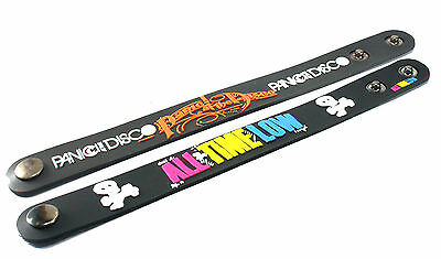 2X PANIC! AT THE DISCO & ALL TIME LOW Rubber Wristband Bracelet Free Shipping