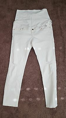 NWT H&M Mama full panel white ripped maternity jeans size 16
