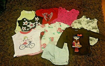 Lot of 9 pieces of mixed USED BABY GIRL size 18 months carter, baby Gap