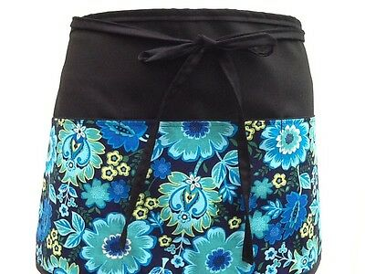 BLACK Flowers 3 POCKET WAITRESS WAIST APRON BAR RESTAURANT SERVER Classyaprons