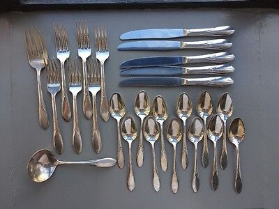 Wm Rogers Pickwick Pattern 1938 Silver Plate Flatware Dinner Set 25 Pieces