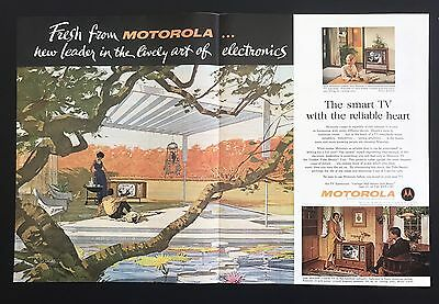 1961 Vintage Print Ad 1960s MOTOROLA ELECTRONICS Color Illustration Fall Trees