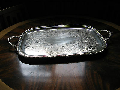 Antique Birks Regency Plate Large Butlers Serving Tray, Footed Butlers Tray