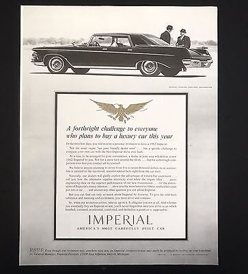 1961 Vintage Print Ad 1960s Automobile Style CHRYSLER IMPERIAL B&W Car Image
