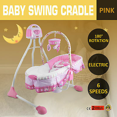 Electric Baby Swing Cradle Six Speeds Pink 12 Songs Portable 180°Rotation