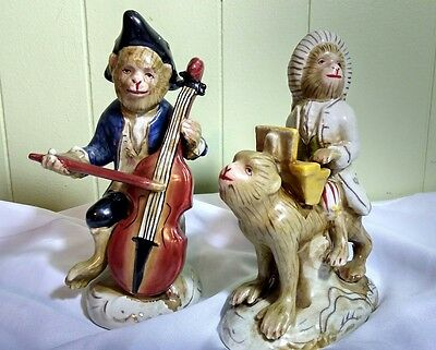 Vintage Duo Two Porcelain Monkey Musicians playing Piano Violin Instruments Ape