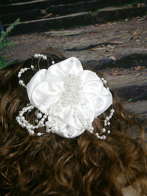 Wedding Fascinator Head Hair Barrette Accessory Satin White Flower Faux Pearls