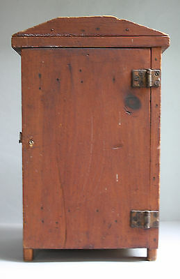 Small 19Th C Primitive Pine Handmade Cupboard In Original Dark  Dry Red Surface