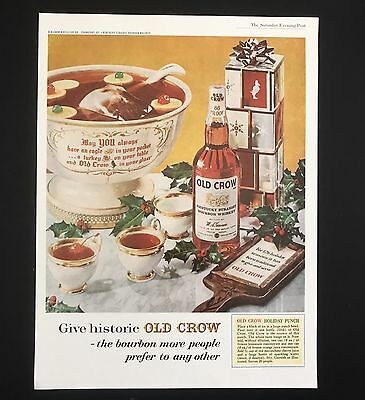 1961 Vintage Print Ad 1960s OLD CROW Bourbon Whiskey Liquor Punch Bowl