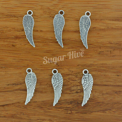 BULK Angel Wings Tibetan Silver Feather Charms Metal Pendant  ~  PACK 10 or 20pc