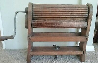 "Old Wash Laundry Wringer Clothes Mangle Wooden and Metal Heavy 15"" tall"
