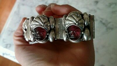 SIGNED Mexico 925 sterling SILVER bracelet TURBAN HEADS AMETHYST PURPLE