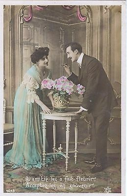 OLD FRENCH POSTCARD Couple at table