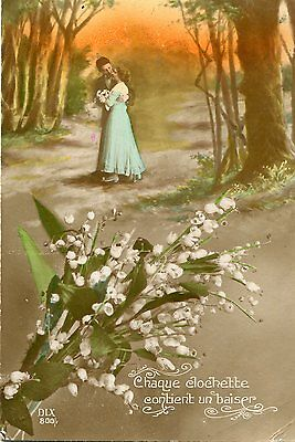 Old French Romantic Postcard: Couple In Woods. Lily Of The Valley