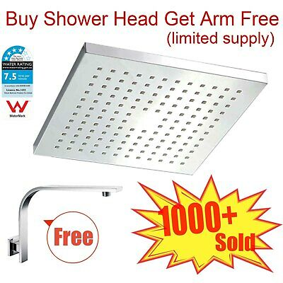 WELS 200mm ABS Square Rain Shower Head & Brass Gooseneck Wall Arm Set WATERMARK