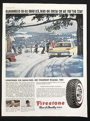 1961 Vintage Print Ad FIRESTONE TIRES   Snow Winter Illustration Yellow Car