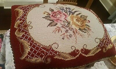 Victorian Style Floral Rose Needlepoint Foot Stool Carved Ottoman Studded Brads
