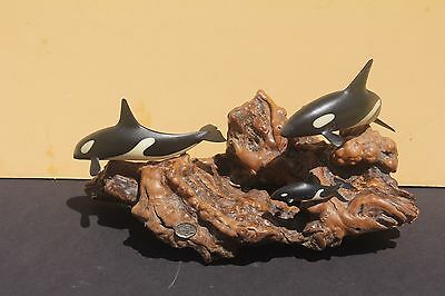John Perry Orca Whale Figurine Statue Saltwater Fish Killer Driftwood Calf As Is