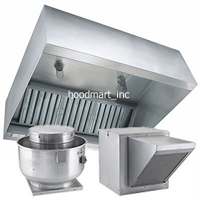 12ft Makeup Air Grease Restaurant Exhaust Hood System w Fire Suppression