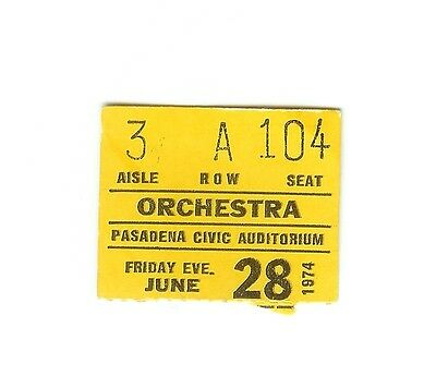 1 Concert Ticket Stub - DAVE MASON - Pasadena Civic Auditorium June 28 1974