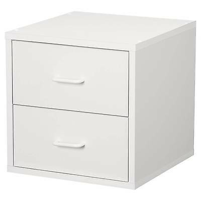 Foremost 327401 Modular 2-drawer Cube Storage System, White