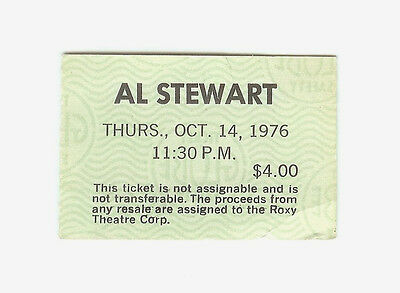 1 Concert Ticket Stub - AL STEWART at The Roxy October 14 1976