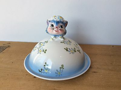 Rare Lefton Miss Priss Round Covered Butter Dish Anthropomorphic 1960s
