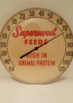 "VINTAGE SUPERSWEET FEEDS Animal FARM 12"" METAL THERMOMETER SIGN-ORIGINAL"