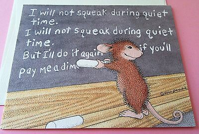House Mouse Blank Note Card Mouse Writing on Chalkboard I Will Not Squeak