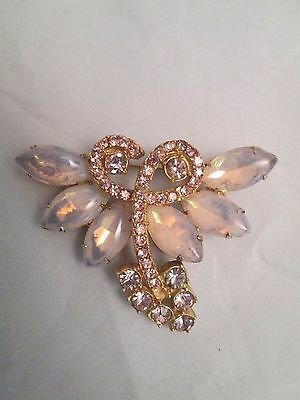 Vintage Juliana Style Pink Glass Prong Set Brooch Rhinestones Unique Pc. Repair