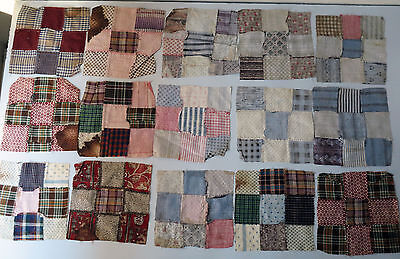 16  Antique Civil War Era Quilt Blocks Madder Brown Pink nine patches +1 star