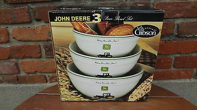John Deere 3 piece Bowl set made by Gibson, New Mint, Item # 38895.03