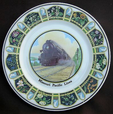 """Missouri Pacific Railroad """"State Flowers"""" Dining Car China Service Plate"""