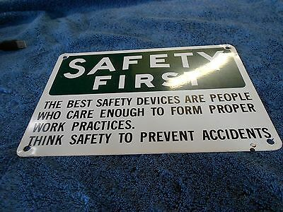Vintage Safety First Metal Steel Painted Sign Industrial Warehouse Factory