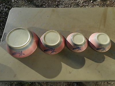Rare Set of 4 Antique Stoneware Pink Oven Proof Mixing Bowls Cobalt Blue