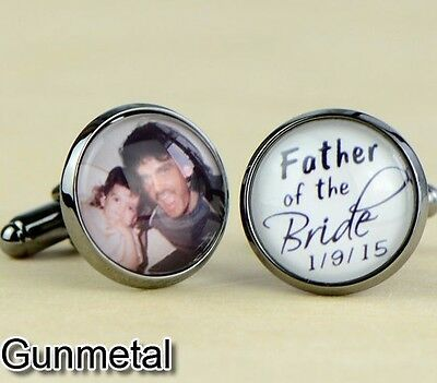 Personalized Wedding Cuff Links Father of the Groom Bride Cufflinks Gift B064