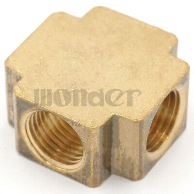 """Cross 4 Way Brass Pipe fitting Equal Female Connector 1/4"""" BSP For Grease System"""