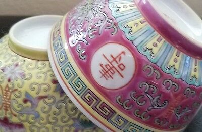 2 Different Vintage Pre-Owned Handpainted Chinese Porcelain bowls very detailed