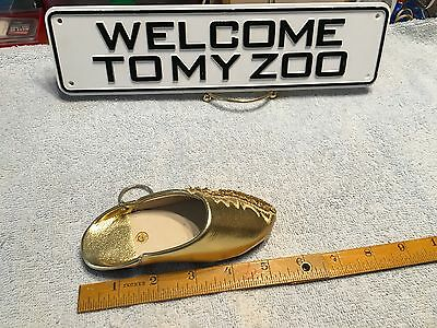 Gold Shoe Slipper Keyring Women's Fashion Pendant Keychain Bag Gift