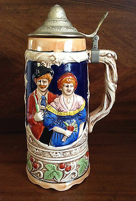 Vintage Lidded Musical Beer Stein, Japan, Excellent Design, Great Condition